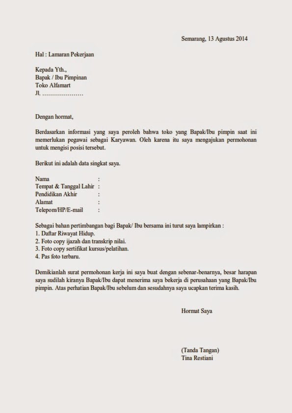 contoh surat lamaran kerja lulusan smk ben