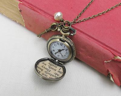 image mr darcy pocket watch necklace jane austen pride and prejudice glass pearl beaded skeleton key crown charm jewellery jewelry brass brown