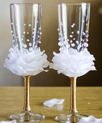 Dyi decoracion de copas foro manualidades para bodas - Manualidades para una boda ...