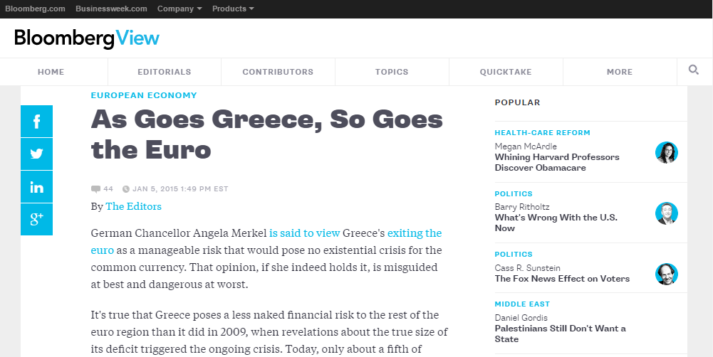 Bloomberg: As Goes Greece, So Goes the Euro