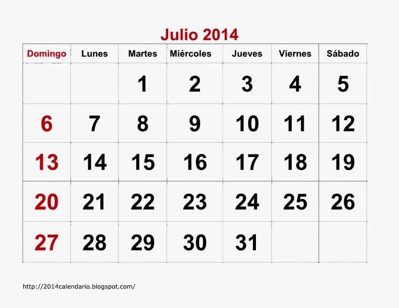 Calendario Julio 2014 para imprimir, Calendario 2014 para imprimir