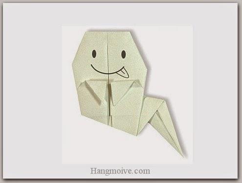 Cách gấp, xếp con Ma Halloween bằng giấy origami - Video hướng dẫn xếp hình Halloween - How to fold a Ghost