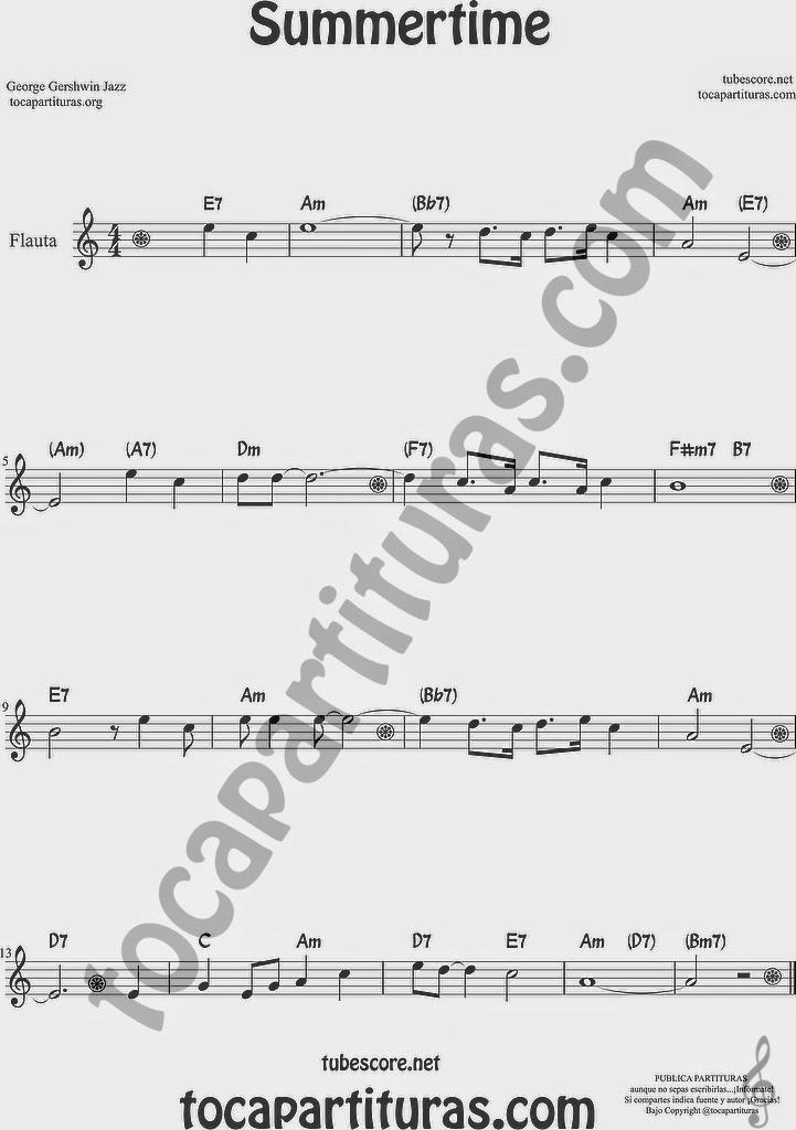 Summertime de Partitura de Flauta Travesera, flauta dulce y flauta de pico Sheet Music for Flute and Recorder Music Scores