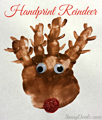 paint handprint reindeer craft for kids