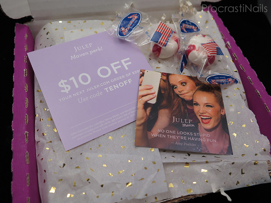 Quote card and discount code for $10 off from my Julep Maven December 2014 Beauty Box