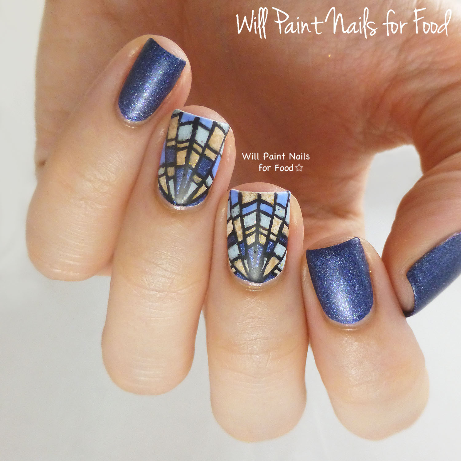 Art Deco stained glass nail art