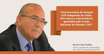 """""""Esta Secretaria de Aviação Civil independe da União. Nós temos a sobrevivência garantida pelo Fundo Nacional de Aviação"""", disse Eliseu Padilha."""