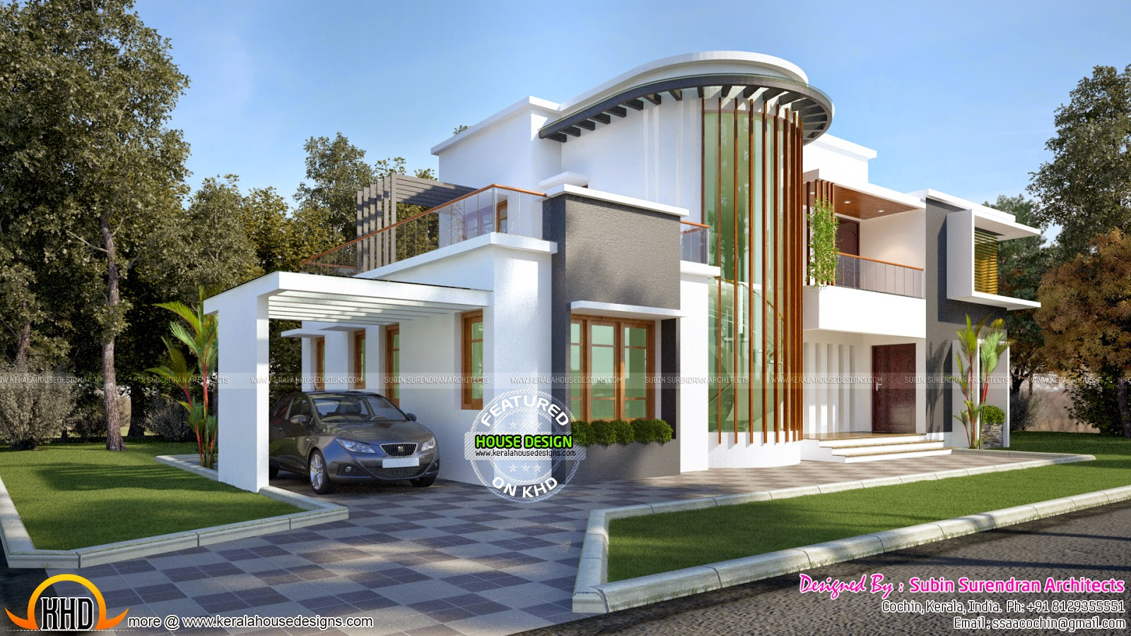 New modern villa plan kerala home design and floor plans for Plan d architecture villa moderne