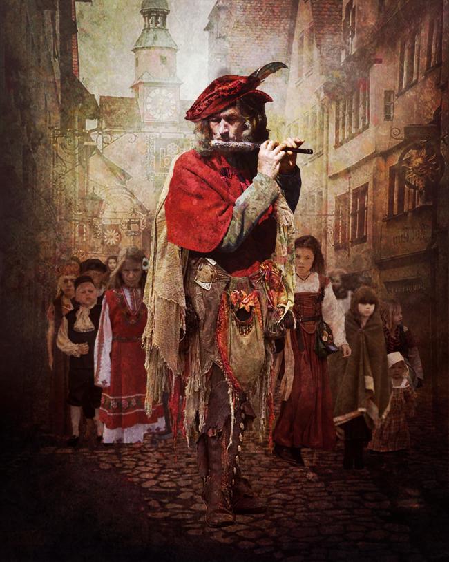 """""""Il pifferaio magico di Hamelin"""" - """"Крысолов из Гамельна"""", сказка братьев Гримм на итальянском языке"""