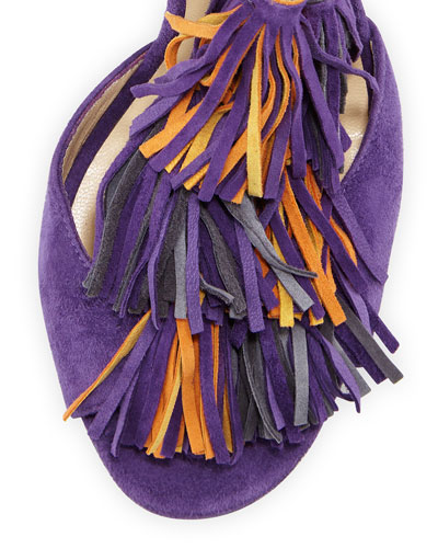 Jimmy Choo purple and orange fringe high heels