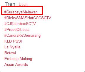 Surabaya melawan Menjadi Tranding topik twitter