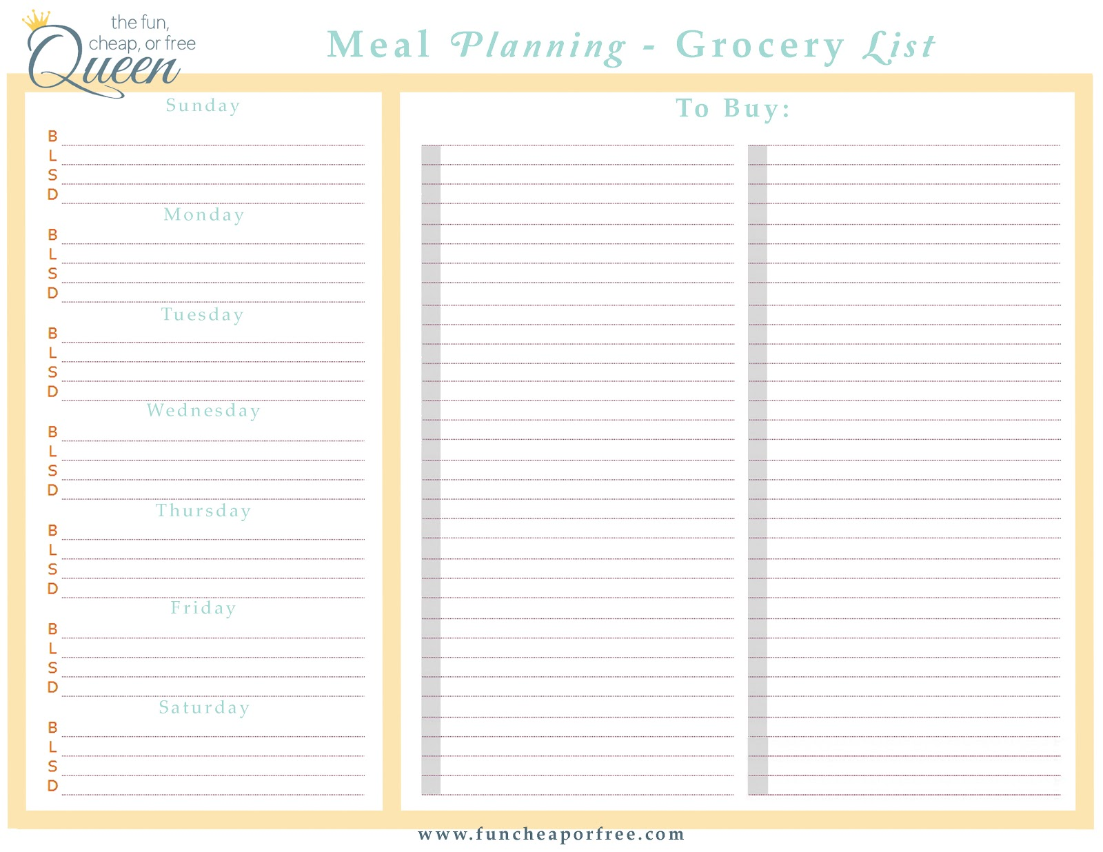 Easy meal plan structure with free printables! - Fun Cheap or Free