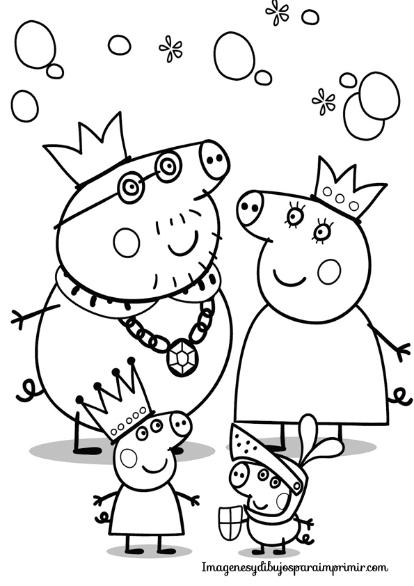 su hermanito George y sus padres: Mummy Pig  y Daddy Pig para colorear