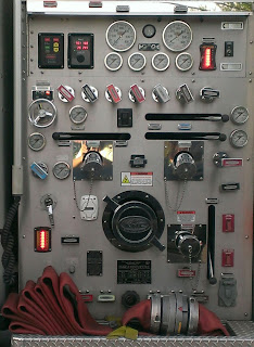 control panel on side of fire truck