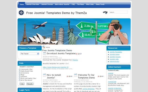 Free Joomla World Travel Blue Theme Template