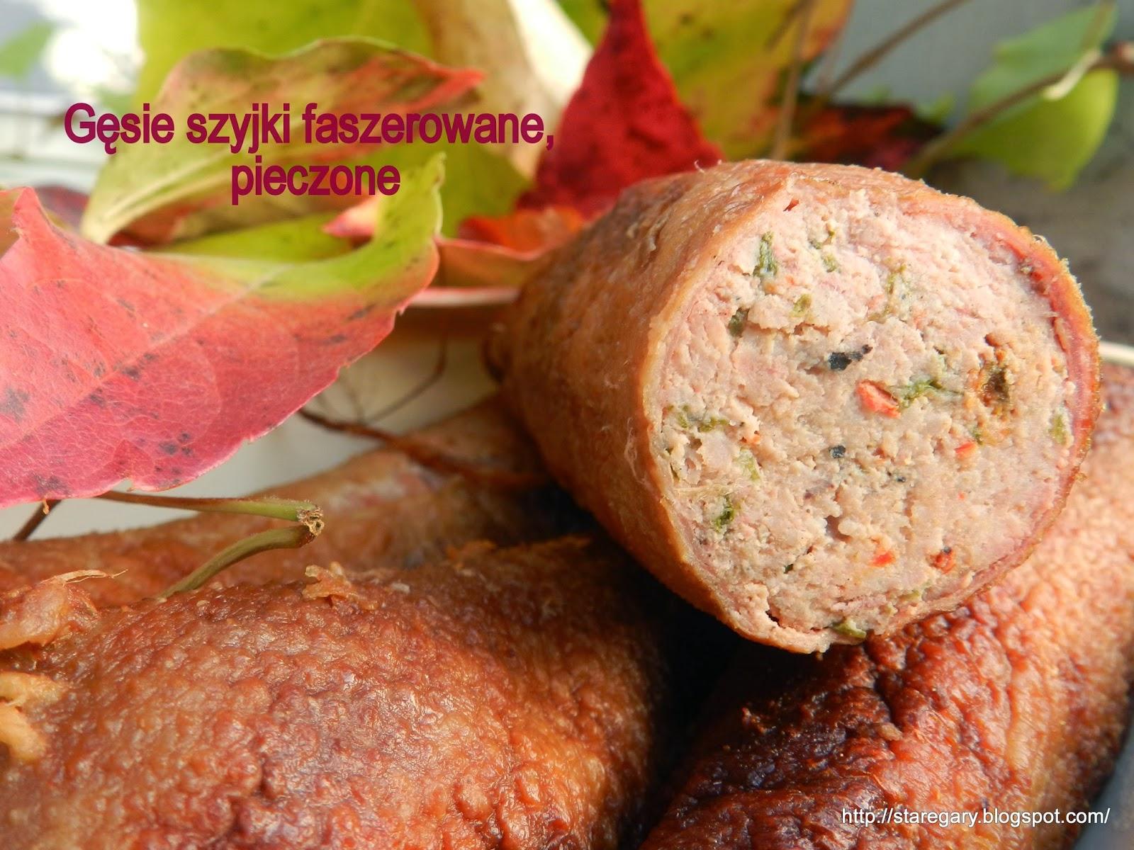 Gęsie szyjki faszerowane, pieczone
