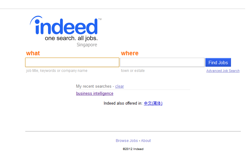 Singapore job aggregator : indeed