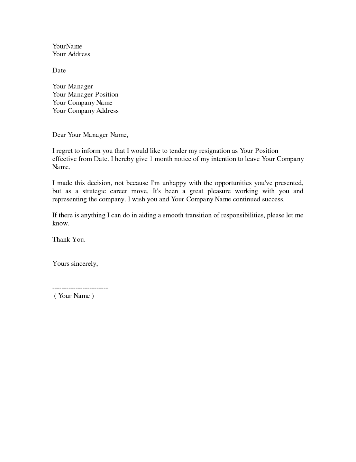 Resignation Letter, Notice Letter Template, Resignation Letter Sample