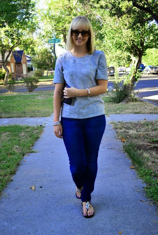 fashion blogger, citizens of humanity jeans, grey LOFT shirt