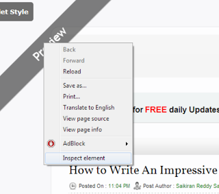 Click on the inspect element option