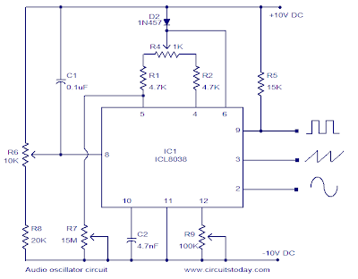 icl8038 audio oscillator circuit ~ circuit diagram for learningThree Output Waveform Audio Oscillator Using Ic L8038 Circuit Diagram #14