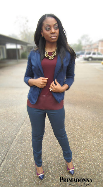 How to wear Navy Blue and Burgundy Wine Oxblood Outfit
