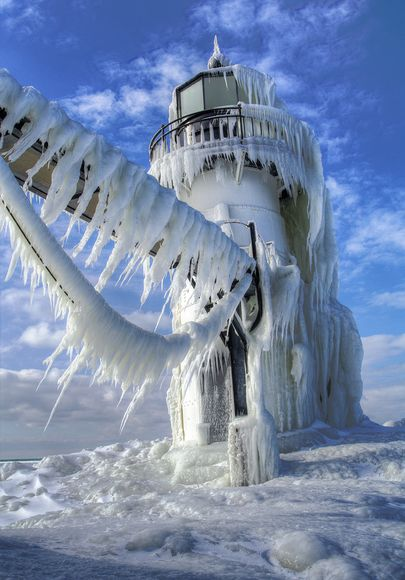 Frozen Lighthouse, Michigan