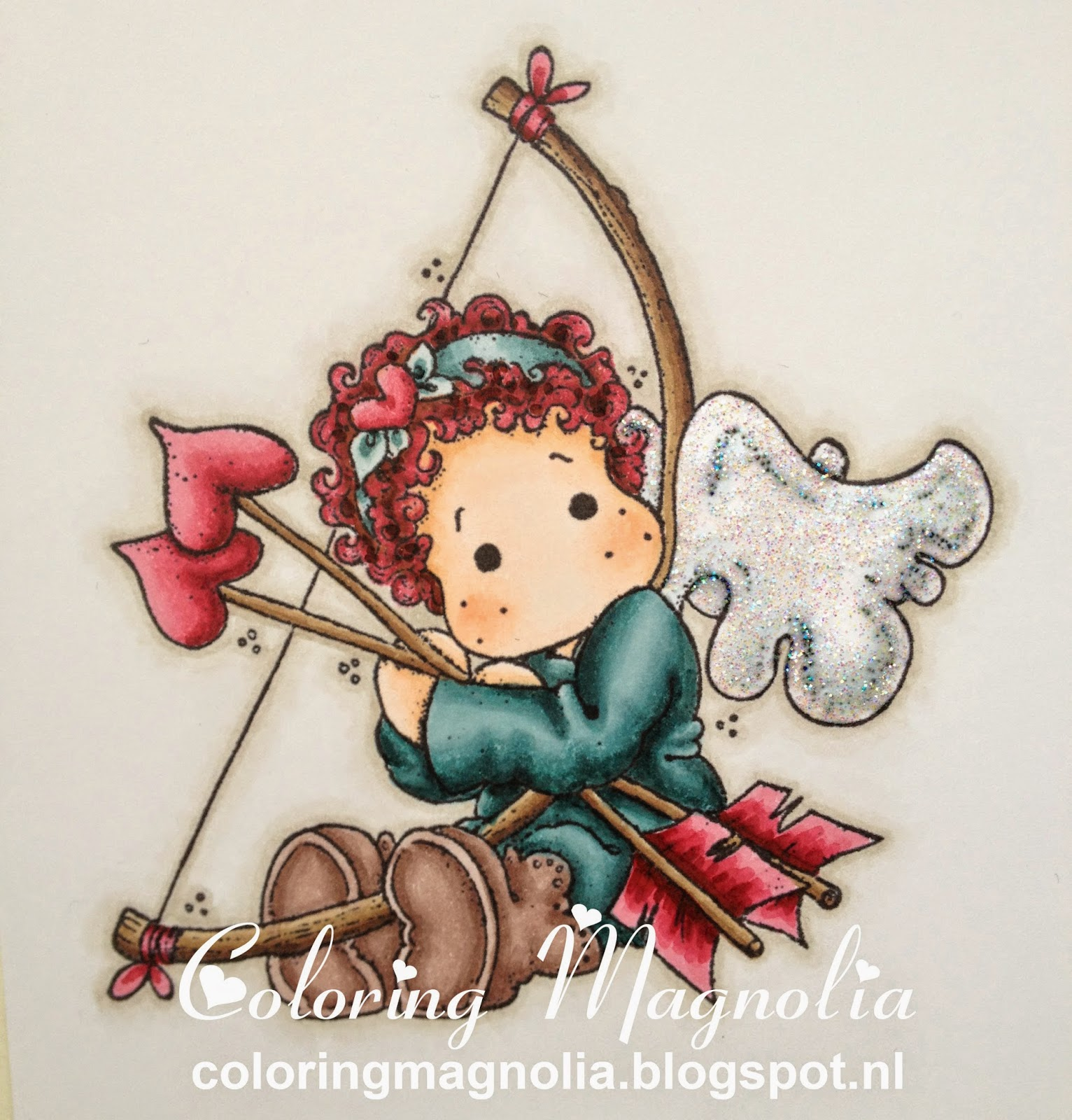 Coloring Magnolia Stamp With Love Collection - Tilda With Heart Arrow