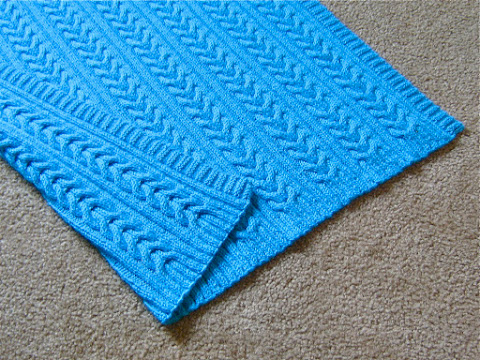 """Splash"" Reversible Cables Baby Blanket"