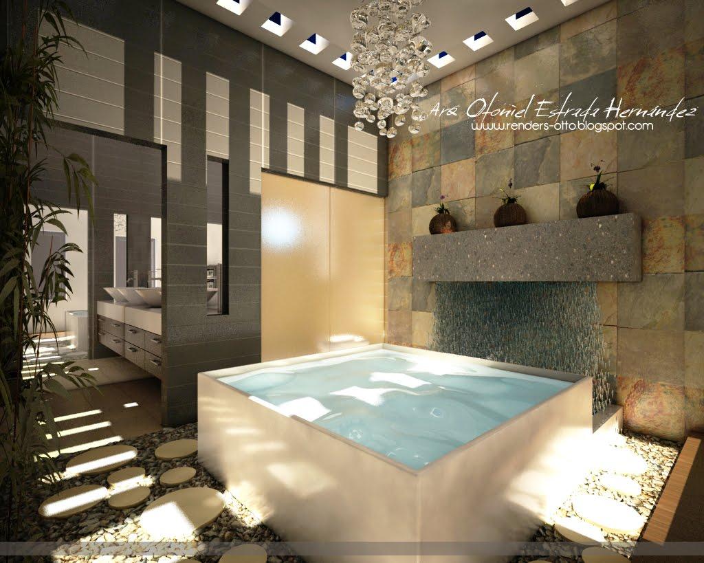 Diseno De Baño Con Jacuzzi:Renders: Baños y Vestidor