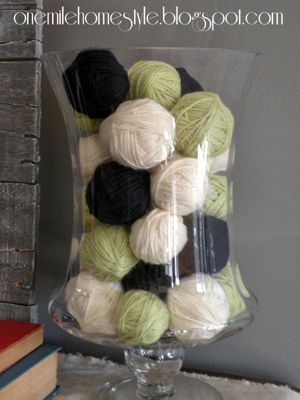 Navy, Cream and Light Green Yarn Ball Vase Filler