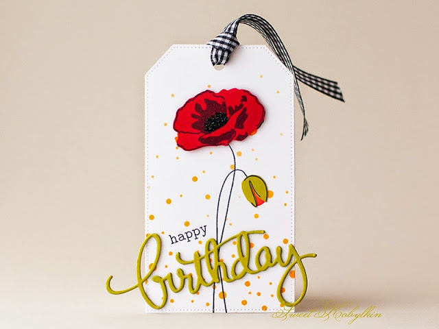 Tag with Painted Poppy from Altenew by Sweet Kobylkin