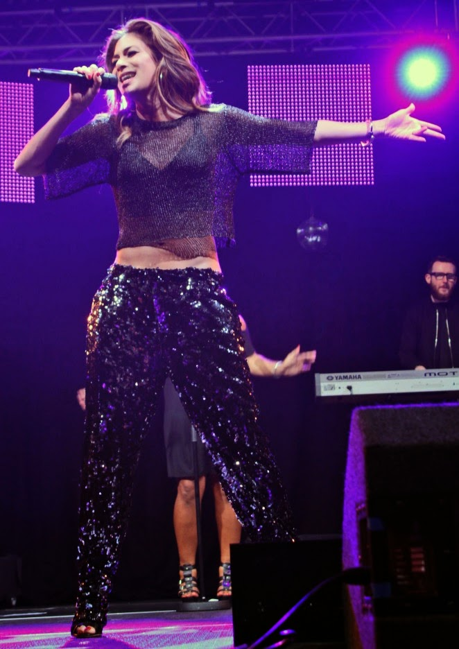 Nicole Scherzinger shows off abs in cropped top and sequinned trousers at the 2014 Free Radio Live in Birmingham