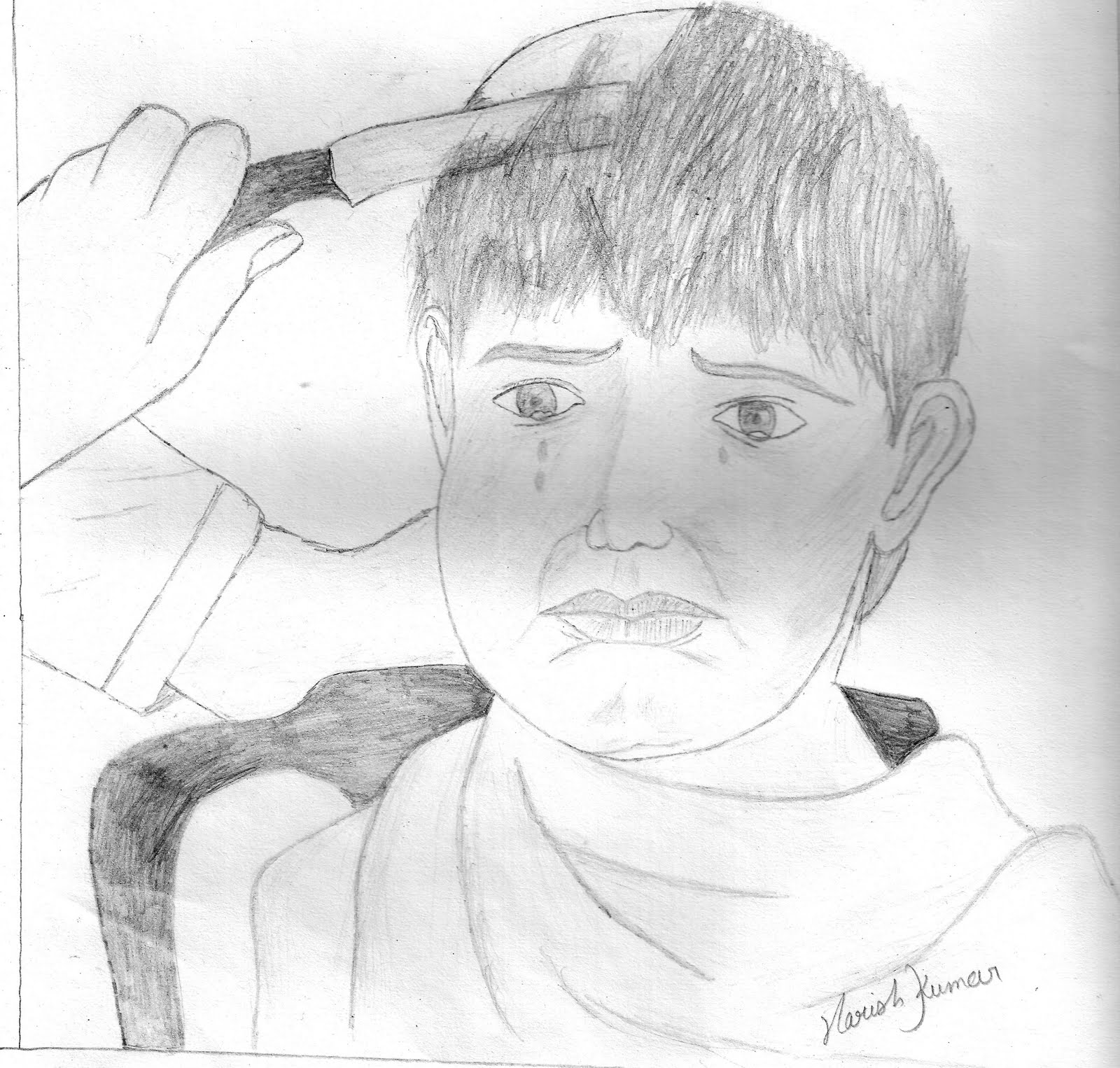 children pencil Sketch