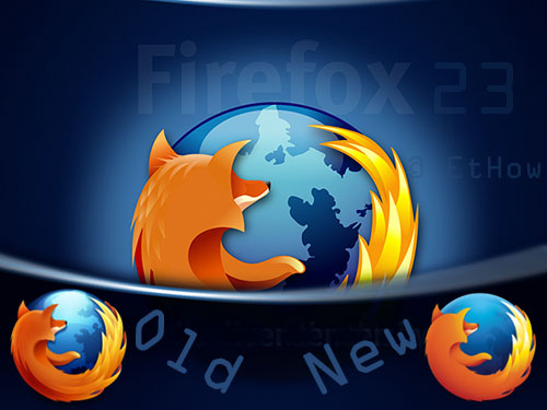 New firefox 23 with better features and security. New firefox logo.