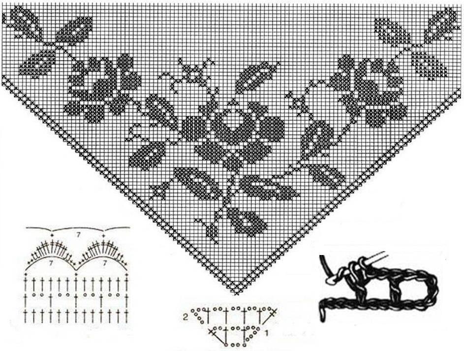 Вязание крючком схемы филейного вязания шали 565