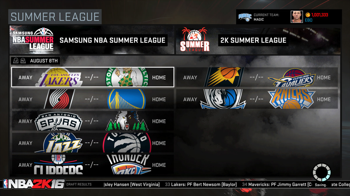 NBA 2k16 MyGM, MyLeague Modes : Summer League