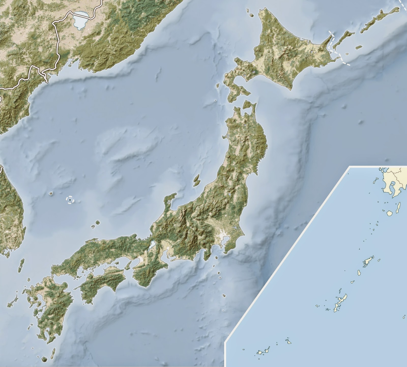 Physical features map of Japan and Okinawa