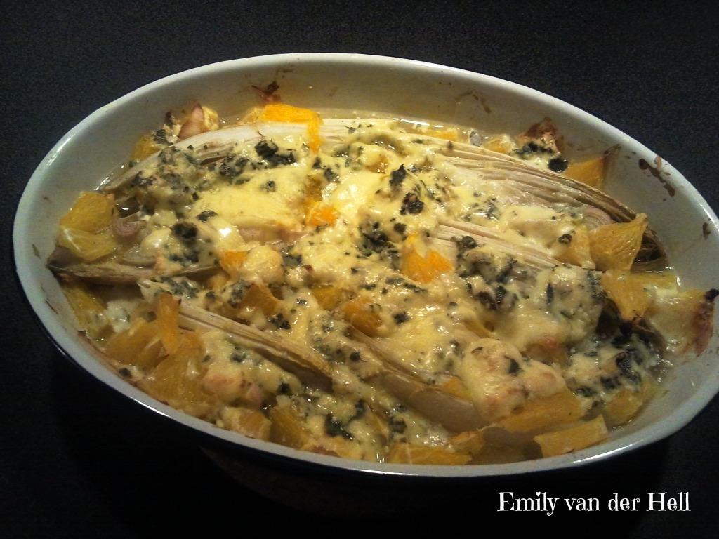 emily van der hell rezept mit orangen und gorgonzola berbackener chicoree. Black Bedroom Furniture Sets. Home Design Ideas