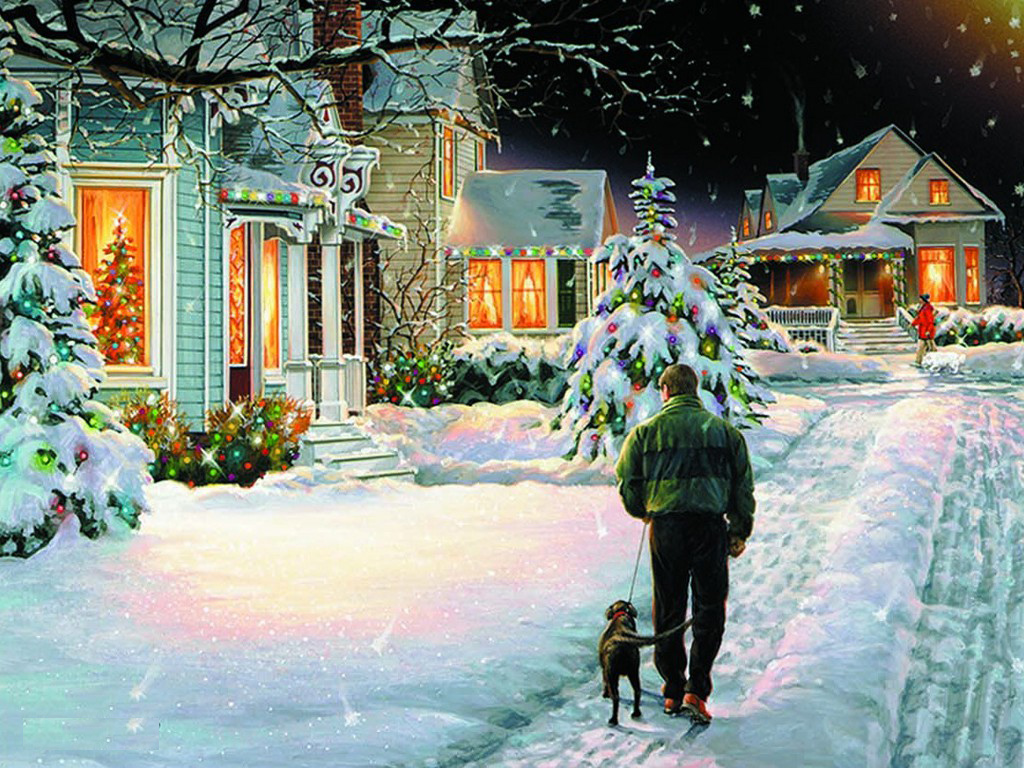christmas snowfall wallpaper at - photo #36