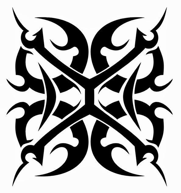 Tribal design shoulder tattoo stencil