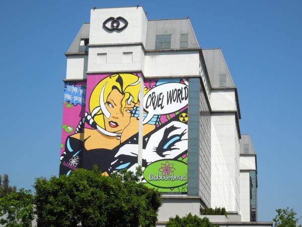 Giant Bubblehead Cruel World billboard