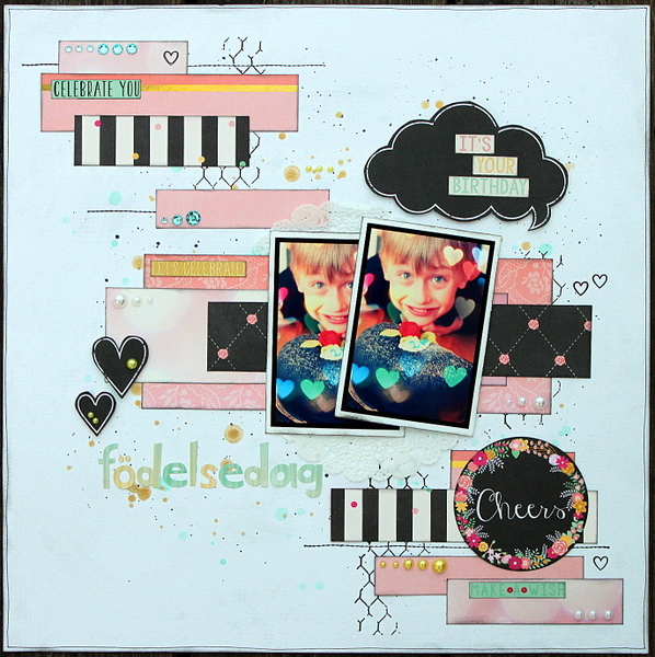 Födelsedag Scrapbook Page by Ulrika Wandler using BoBunny You're Invited Collection