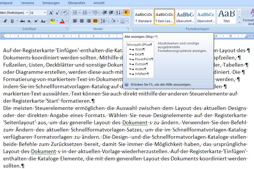 Word 2007 - Absatzmarken eingeblendet - Formatierung Blocksatz