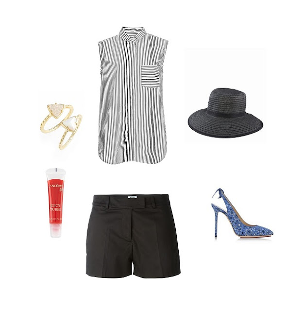 Outfit Ideas for Charlotte Olympia blue slingback heeled shoes