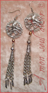Boucles d'Oreilles Steampunk pieuvre poulpe kraken Jules Verne rouage octopus gear earrings