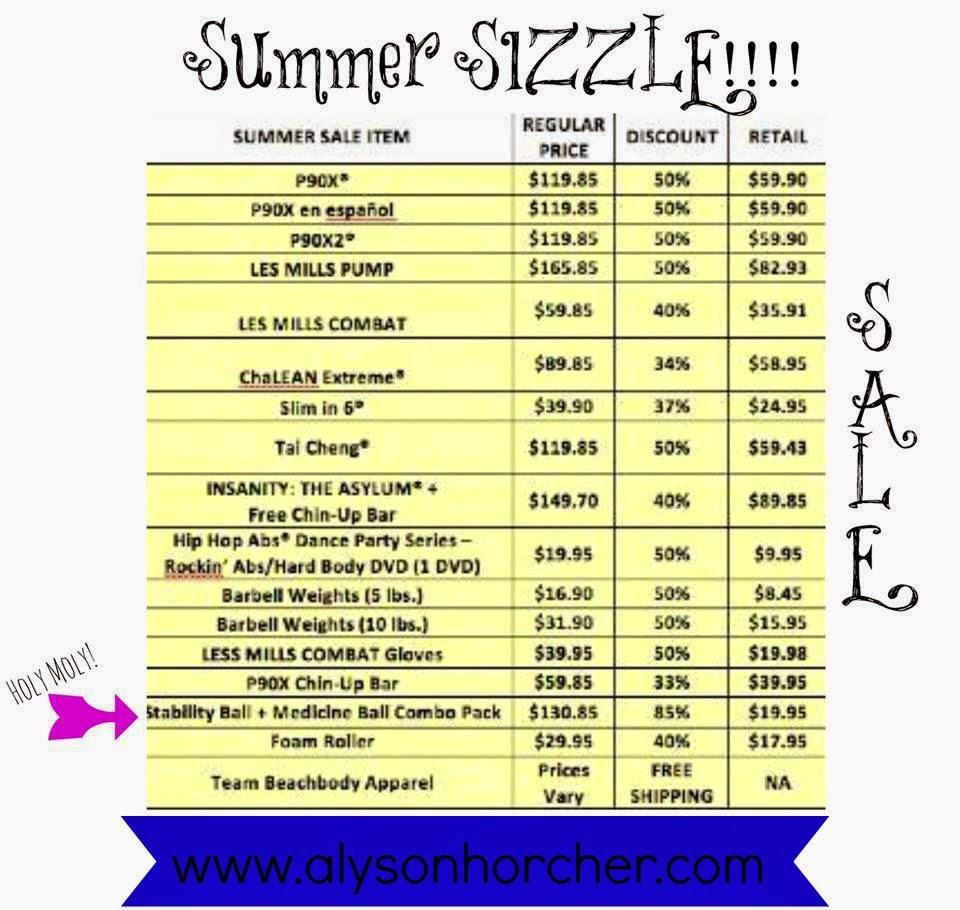 www.alysonhorcher.com, beachbody Summer sizzle sale, summer sale 2014, beachbody summer sale 2014