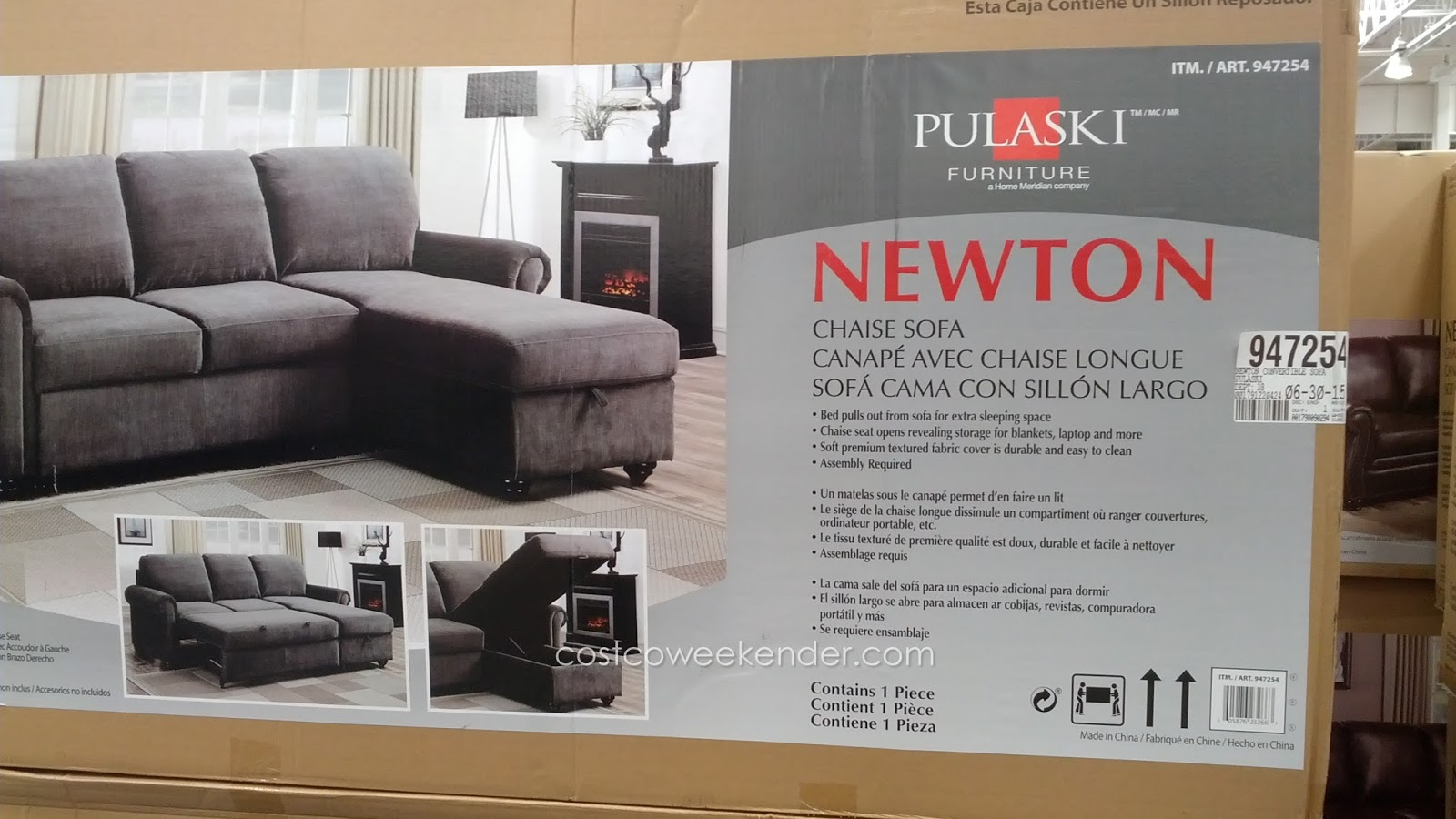 Relax In Your Home With The Pulaski Newton Convertible Chaise Sofa
