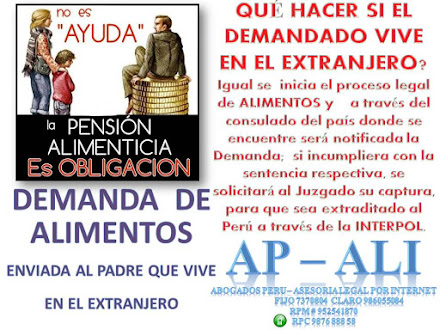ASESORÍA LEGAL EN DEMANDA DE ALIMENTOS CUANDO EL DEMANDADO VIVE EN EL EXTRANJERO