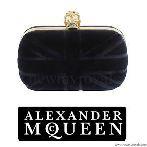 Princess Madeleine style Alexander McQueen navy velvet britannia clutch